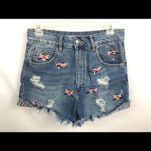 c6e3822736 Zara Shorts - Zara size 6 Pink Panther cut off denim jean shorts